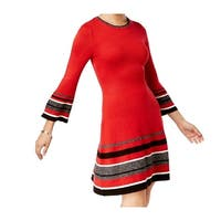 Jessica Howard Red Womens Size Large L Bell Sleeve Sweater Dress