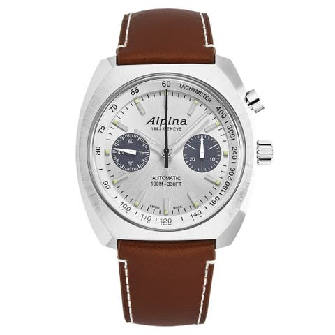 Alpina mens 'startimer pilot' monopusher silver dial brown leather automatic watch al727ss4h6