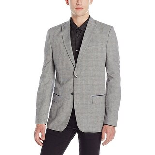 Calvin Klein CK Slim Fit Black & White Glen Plaid Sportcoat Blazer X-Large