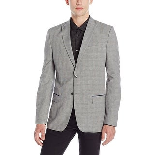 Calvin Klein CK Slim Fit Black and White Glen Plaid Sportcoat XX-Large