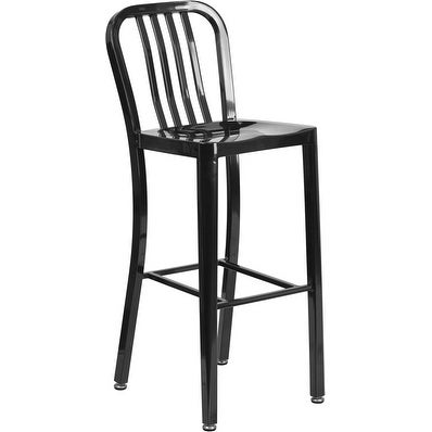Collins 30'' High Black Metal Indoor/Outdoor/Patio/Bar Barstool w/Vertical Slat Back