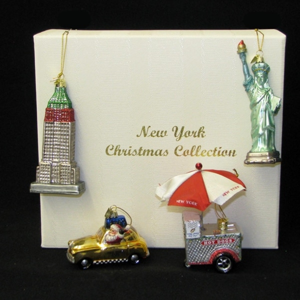 Set of 4 Noble Gems Iconic New York City Glass Christmas Ornaments 5""