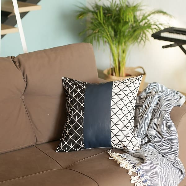 Decorative Faux Leather Square 17 Throw Pillow Cover On Sale Overstock 31423296