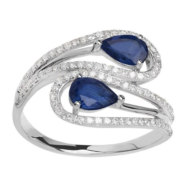 1 ct Natural Kanchanaburi Sapphire & 1/3 ct Diamond Bypass Ring - Blue