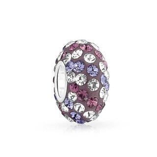 Bling Jewelry 925 Silver Imitation Amethyst Crystal Lavender Bead Charm
