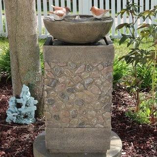 sunnydaze three bathing birds birdbath water fountain with light 25 inch tall