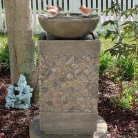 Sunnydaze Three Bathing Birds Birdbath Water Fountain with Light - 25-Inch