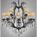 Swarovski Crystal Trimmed Wrought Iron Crystal Chandelier Lighting With White Shades - Thumbnail 0