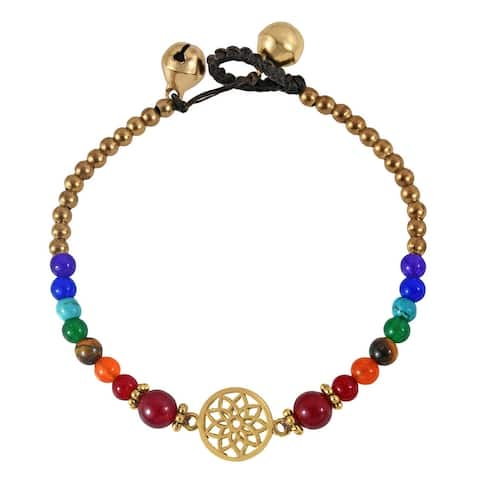 Handmade Pretty Lotus Charm Colorful Stone and Brass Beads Jingle Bell Bracelet (Thailand)