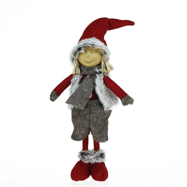 """13.5"""" Young Boy Gnome in Faux Fur Vest Christmas Tabletop Decoration - RED"""
