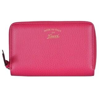 "Gucci Women's 354497 Pink Leather Trademark Logo Swing Zip Around Wallet - 6.5"" x 4"""