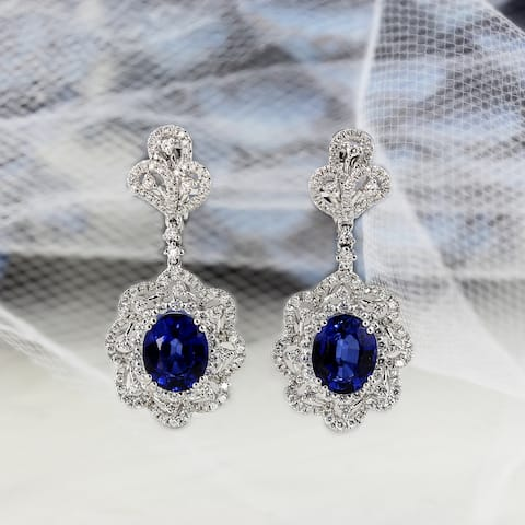 Auriya Fancy 8 1/5ct Royal Blue Sapphire Oval and 2ctw Halo Diamond Earrings 18K Gold
