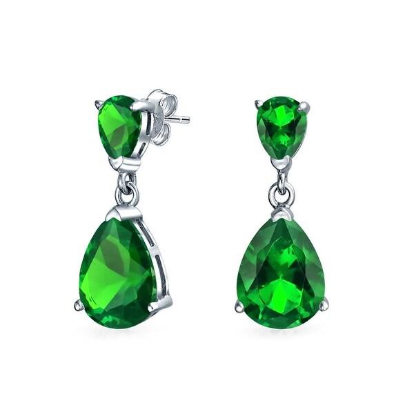 Bling Jewelry 925 Silver Green Cz Drop Earrings