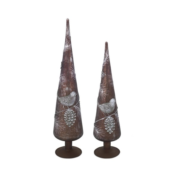 Set of 2 Luxury Lodge Bronze Tone Weathered Bird and Pine Cone Glass Finial Christmas Tree Toppers