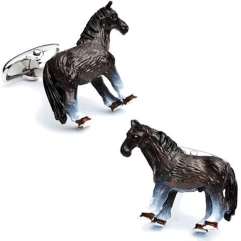 3D Enamel Horse Cufflinks Equestrian - One Size