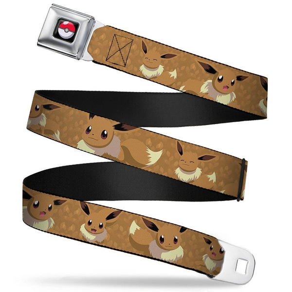 Pok Ball Full Color Black Eevee Expression Poses Tans Webbing Seatbelt Seatbelt Belt