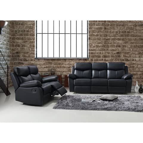 Quartz 2pc Leather Reclining Sofa Set - Sofa + Loveseat