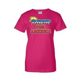 Women's Juniors T-Shirt Trump For America Republican President Rich Donald Tee