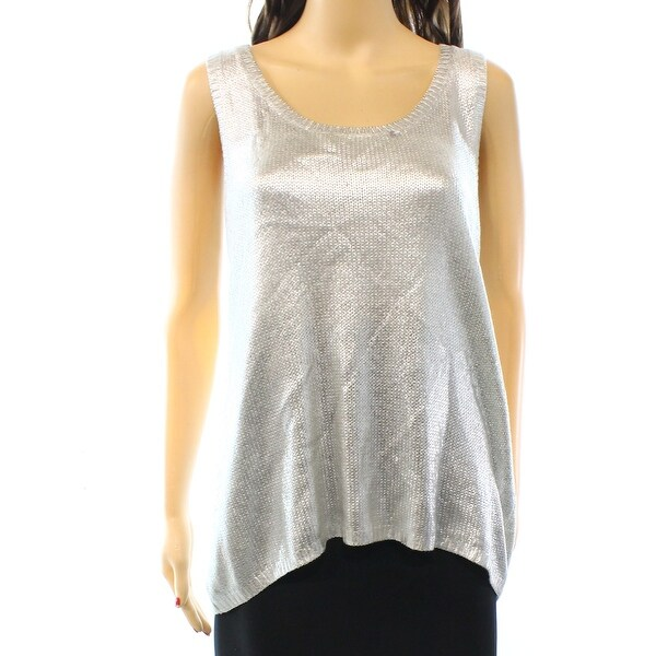 7e64790f0cc477 Shop INC NEW Silver Foil Women's Size Large L Shimmer Tank Rib-Knit Top -  Free Shipping On Orders Over $45 - Overstock - 18384523