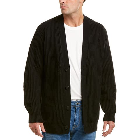 Vince Distressed Wool & Cashmere-Blend Ribbed Cardigan