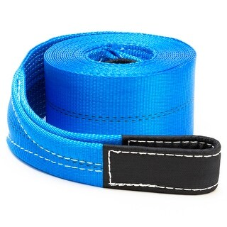"""4"""" x 30' Heavy Duty Recovery Winch Tow Loop Strap 4x4 Rope Chain Towing Tow - Blue"""