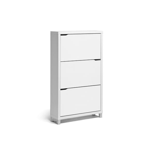 Lucerne White Modern Entryway Shoe Cabinet