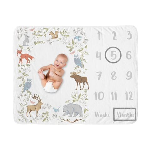 Woodland Animal Toile Boy Girl Baby Monthly Milestone Blanket - Grey Green Brown Forest Bear Deer Fox Owl Bunny Bird Neutral