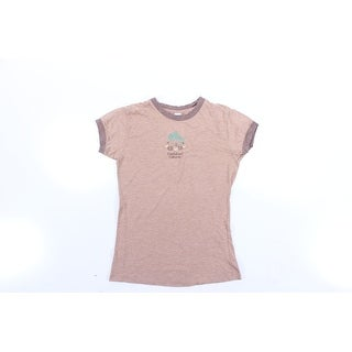 Womens Beige Short Sleeve Jewel Neck Casual T-Shirt Top Size L