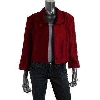Kasper Womens Shimmer 3/4 Sleeves Crop Blazer - 10