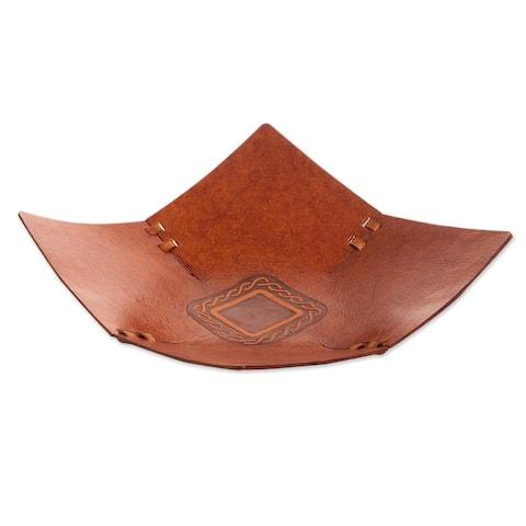"Handmade Square Lasso Leather Catchall (Peru) - 2.6"" H x 11"" W x 11"" D"