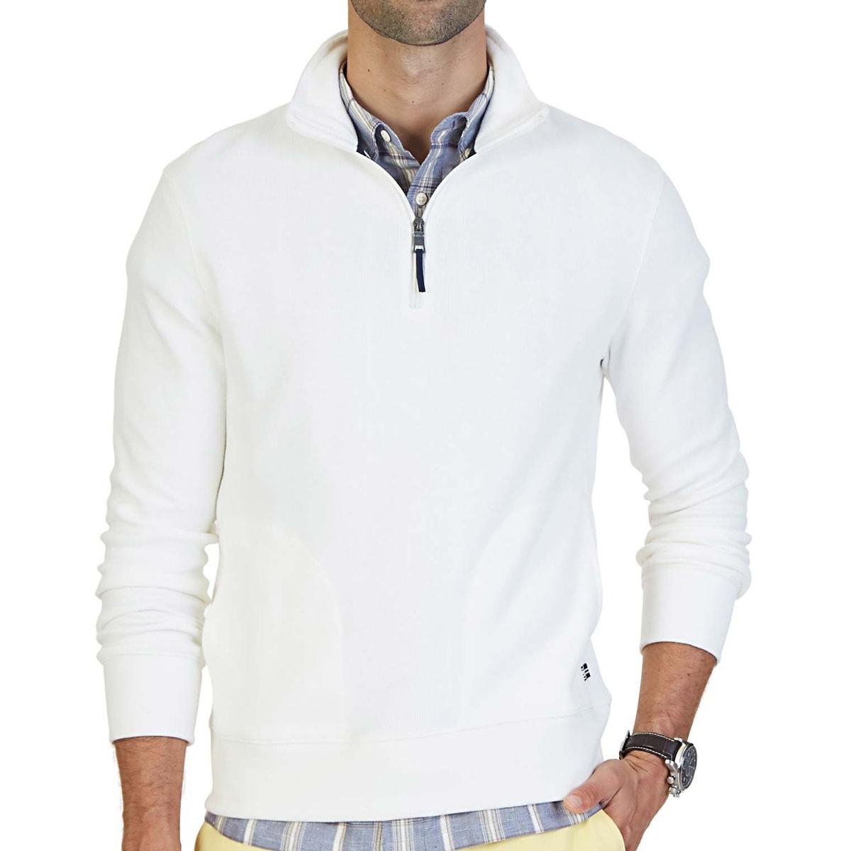 Nautica Marshmallow White 1//4 Zip Pullover Sweatshirt Men/'s NWT