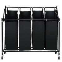 Gymax 4 Bag Rolling Sorter Cart Hamper Organizer Basket Laundry Home