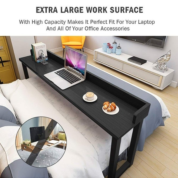 Heavy Duty Mobile Overbed Table Home Desk with Wheels Multifunctional 4 Colors