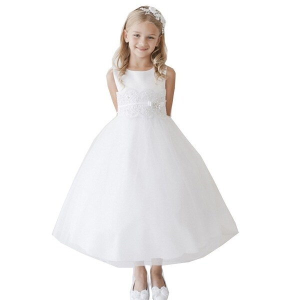 Girls White Lace Applique Brooch Plus Size Junior Bridesmaid