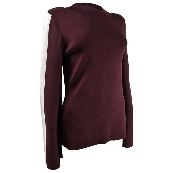 INC International Concepts Women's Varsity-Sleeve Sweater (S, Port) - S. Opens flyout.