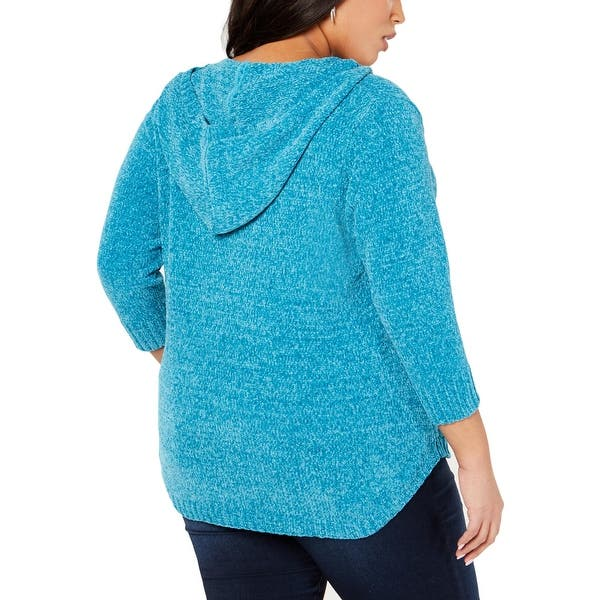 NY Collection Womens Plus Chenille 3//4 Sleeves Hooded Sweater