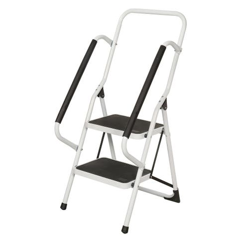 Support Plus Folding 2-Step Safety Step Ladder with Padded Side Handrails - White