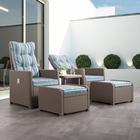 CorLiving Lake Front Striped Rattan Patio Recliner and Ottoman Set, 5pc