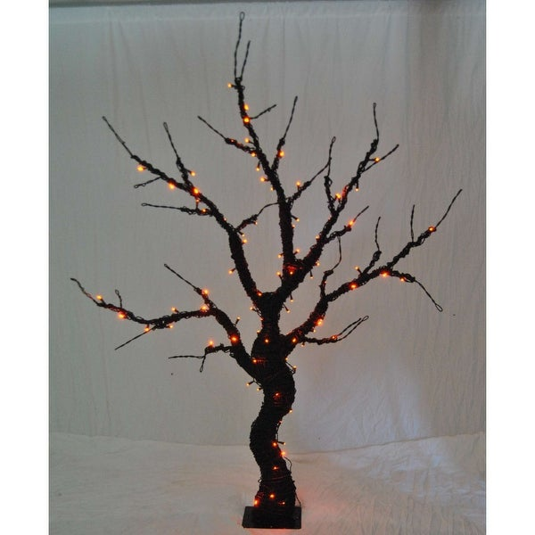 Christmas at Winterland WL-HTR-06-BK-LOR 6 Foot Pre-Lit Halloween Tree with Black Base and Orange LED Lights - N/A