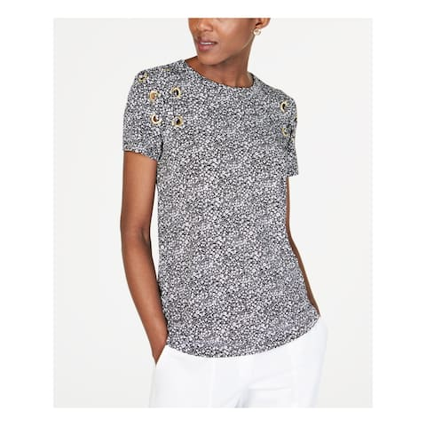 MICHAEL KORS Womens Silver Printed Short Sleeve Jewel Neck Top Size: XS
