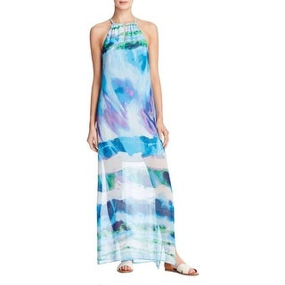 Aqua Womens Maxi Dress Halter Chiffon