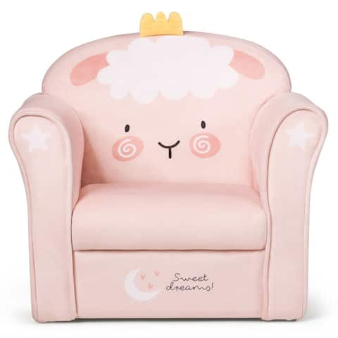 Gymax Kids Lamb Sofa Children Armrest Couch Upholstered Chair Toddler - See Details