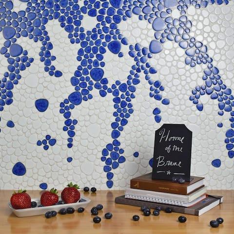 "SomerTile Pebble White 11"" x 11"" Porcelain Mosaic Tile"