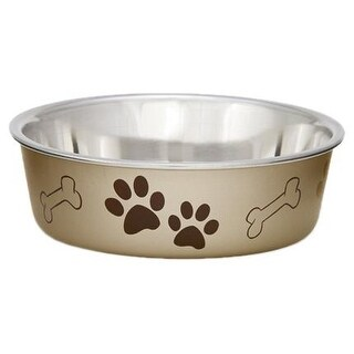 Loving Pets Metallic Bella Bowl, Small, Champagne