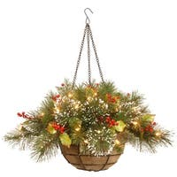 """20"""" Pre-Lit Battery-Operated Artificial Pine with Berries Christmas Hanging Basket - Warm Clear LED Lights - green"""