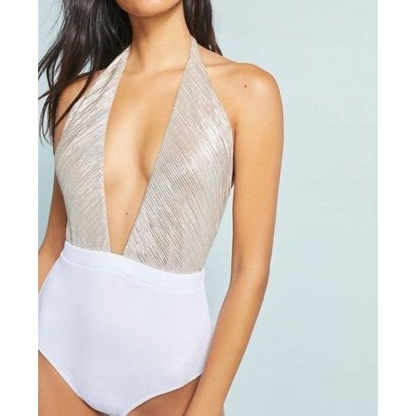6392f85ece Shop Anthropologie Allihop Metallic Halter One-Piece Swimsuit - Free ...