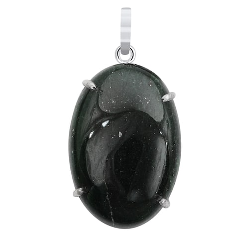 Aventurine Sterling Silver Oval Chain Pendant by Orchid Jewelry