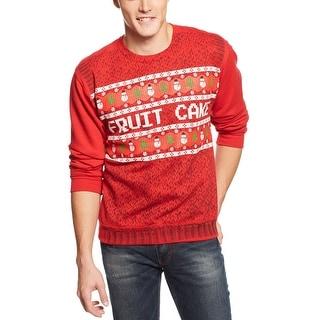 American Rag Holiday Fruit Cake Fleece Sweatshirt Medium M Bright Red