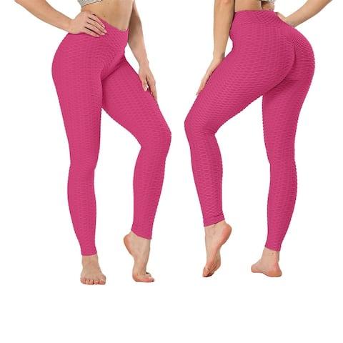 Women's High Waist Textured Butt Lifting Slimming Workout Leggings Tights Pants