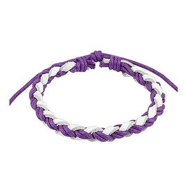 Light Violet and White Braided Leather Bracelet with Drawstrings (10 mm) - 7.5 in